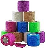 Vendajes adhesivos cohesivos MEDca de 2 pulgadas X 5 Yardas, empaque de 12 con cinta colorida de primeros auxilios para aliviar el dolor y la hinchazón en tobillo y muñeca (Colores del arcoiris)