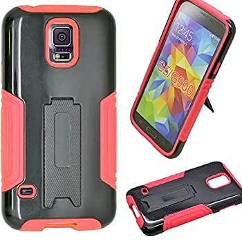 Samsung Galaxy S5 SM-G900 Premium Heavy Duty Shock Impact Protection Dual Layer Rugged Tactical Armor Kickstand Hybrid Case [SlickGearsTM]  Red