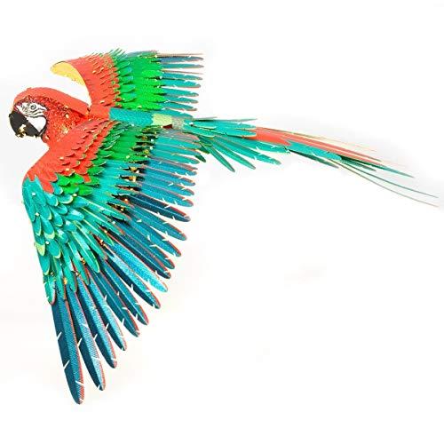 Quebra-Cabeça 3D Metal Arara Vermelha, Fascinations ICONX Jubilee Macaw Parrot 3D Metal Model Kit