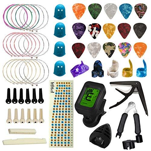 TTCR-II Accesorios para Guitarra 61 Piezas con Afinador de Guitarra, Guitarra Capo, 15 Púas Guitarra, 3 juegos Cuerdas Guitarra, 4 protectores de dedos,Enrollador de cuerda, Pegatinas para guitarra…