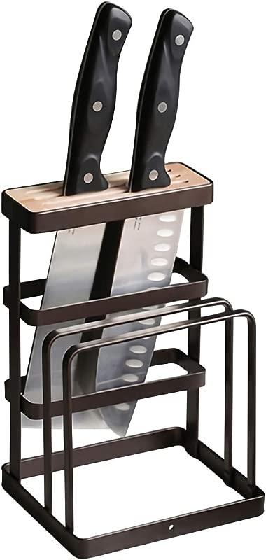 GeLive Metal Knife Block Cutting Board Chopper Hoder Drying Rack Kitchen Storage Organizer Counter Display Stand Black