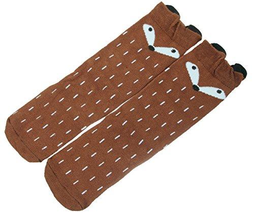 V-SOL Calcetín Medias Socks Largo de Zorro para Bebé marrón S
