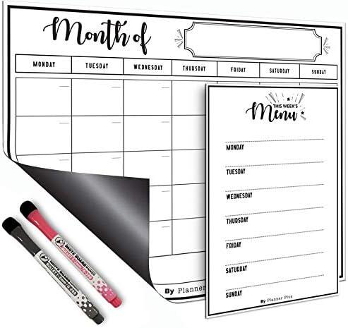 Magnetic Dry Erase Refrigerator Calendar 1 x Large Calendar Monthly Planner 1 x Menu Planner Whiteboard 2 x Markers -...
