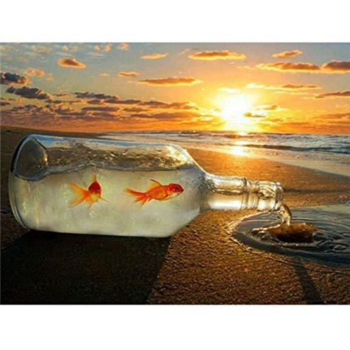 5D DIY diamante pintura taladro completo cristal diamante bordado pinturas artes kit de punto de cruz Adultos Pescado de la playa al atardecerpara Decoración de Pared, Regalo de casa(30cm × 40cm)