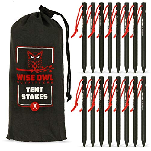 Wise Owl Outfitters Tent Stakes 7075 Heavy Duty Aluminum Metal Ground Pegs - Perfect to Stake Down A Tarp and Tents - Best Easy Lightweight Strong Outdoor Camping Spikes
