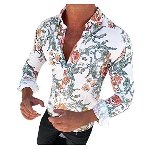 Yowablo Homme Chemises Casual Manches Longues Mode Slim Fit Shirt Tops Chemisier Chemise Imprimée Fleurie Décontractée Coupe Slim Top (XL,1Blanc)