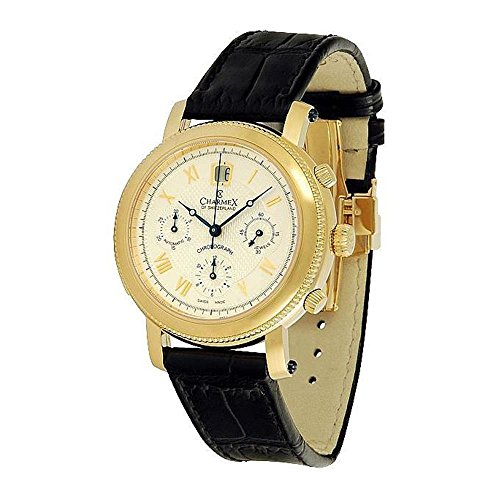 Charmex Men's Jubile Chronograph 42.5mm Black Leather Band Steel Case Automatic Analog Watch 2121