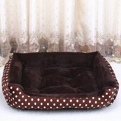 LGFSG Hundebett Haustier Hundebetten für große Hunde Kleine Hunde Warme weiche Hundematratze Couch Waschbare Haustier Schlafsofas Käfig XXL, braune Punkte, XL