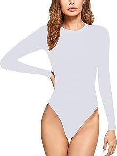 JUDYBRIDAL Women's Basic Long Sleeve Bodysuit Scoop Neck Leotard Stretchy Top