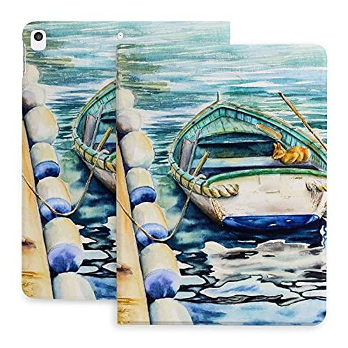 Estuche para Barco en el mar con Gatos para iPad 8th Gen (2020) / 7th Generation (2021) Folio de visualización de múltiples ángulos de protección de Esquina de 10,2 Pulgadas