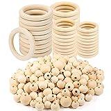 NAMIS 131 Stück Holzperlen und Holzring Set Natürliche Runde Holzperlen Holzring Baby mit Perlen-Einfädler für DIY Handgefertigte Dekorationen Schmuck Handwerk Machen