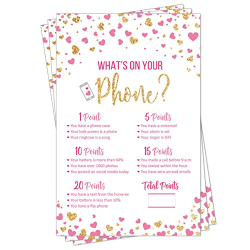 What's On Your Phone - Party Game - Bridal Shower - Baby Shower - Pink and Gold Heart Confetti (50-Sheets)