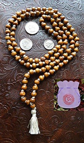 IndianStore4All 8MM TULSI HOLY Basil Prayer Beads JAPA MALA Necklace Hand Knotted. Karma (108+1) Beads. Blessed & Energized Hindu Tibetan Buddhist SUBHA Rosary