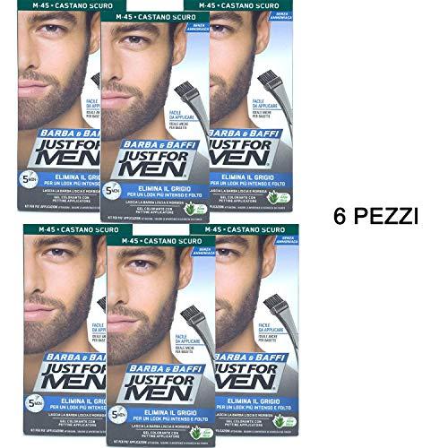 6 X JUST FOR MEN BARBA E BAFFI COLORE TINTURA PERMANENTE CON