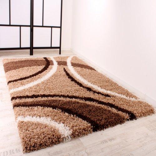 Paco Home Shaggy Teppich Hochflor Langflor Gemustert in Braun Beige Creme, Grösse:120x170 cm