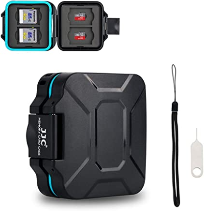 Camera Memory Card Case JJC SD TF Micro SD Card Case Holder Organizer Box for 4 SD & 4 TF Cards with a Card Removal Tool & Lanyard Water-Resistant