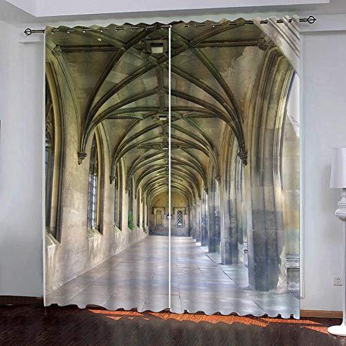 SUZIHUA Verdunkelungsvorhang 3D Korridor Massiver Vorhang Isolierung Fensterdekoration Öse Wohnzimmer Schlafzimmer...
