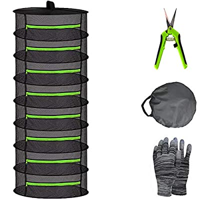 YOUSHENGER Herb Drying Rack Net 8 Layer 2ft Black Mesh Hanging plant Drying Rack net with Green Zipper and Garden Gloves plant rack with Pruning Scissors for Hydroponic Plant Herb and Bud