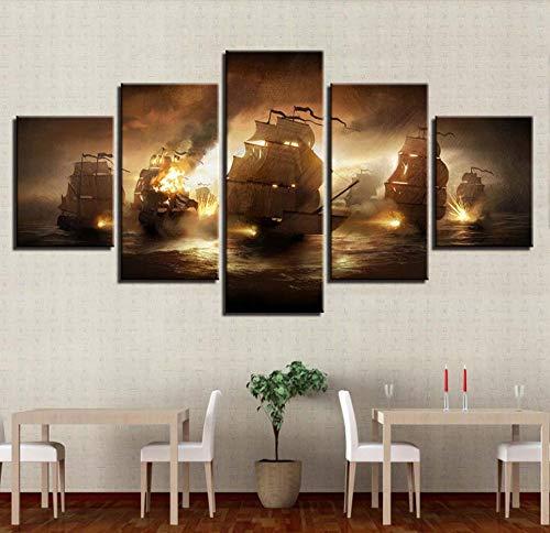 N\A Grandes Cuadros Decorativos Modernos para Sala - Cuadro Pared Lienzo - Barco De Batalla Naval Modelo 3D - Cuadros Decoracion Pasillo - 5 Panel