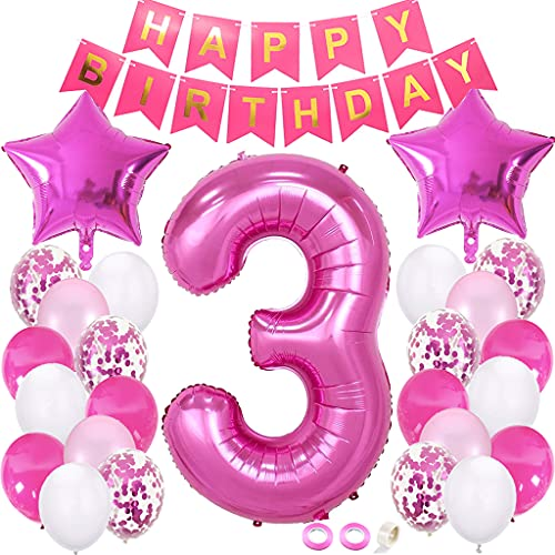 Juland 3rd Birthday Decorations Kit First Birthday Party Supplies Number 3 Foil Balloon Happy Birthday Banner Star Confetti Balloons Birthday Party Decorations – Rose