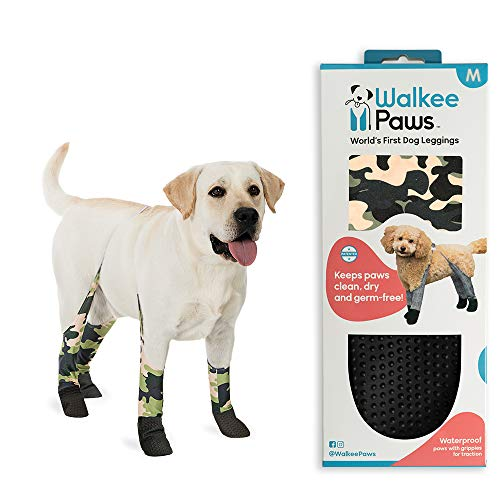 Walkee Paws Waterproof Dog Leggings | Keep Dog's Paws and Legs Clean & Dry On Walks | Protect Paws from Spring Rain, Mud & Summer Heat | Alternative to Dog Shoes | Camouflage (Size: Medium Dog)