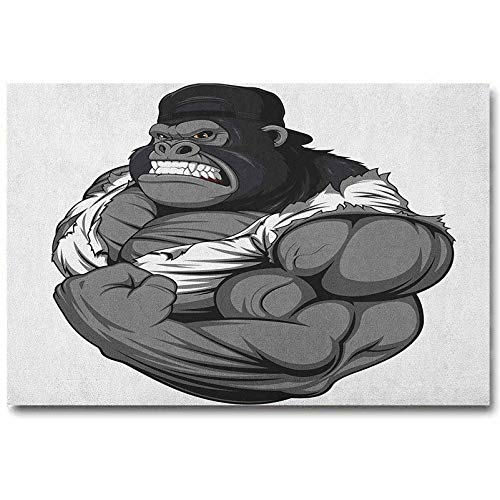 ScottDecor Cartoon Wall Mirror Decor Image of Big Gorilla Like as Professional Athlete Bodybuilding Gym Animal Best Gifts for Wife Black White Grey L30 x H60 Inch