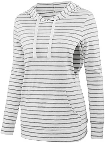 fitglam Women s Maternity Nursing Tops for Breastfeeding Side Zip Hoodie with Pockets Long Sleeves product image