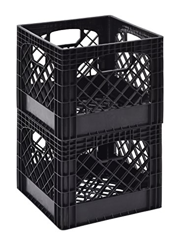 "Muscle Rack MK131311-B2PK 11"" x 13"" x 13"" Black Milk Crate (Pack of 2)"