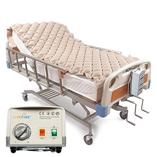 Livefine Dual Mode Pressure Alternating Mattress Pad – Inflatable Bed Air Topper with Quiet Electric Pump System – Medical Grade for Pressure Ulcer amp Sore Treatment – Fits Standard Size Hospital Bed