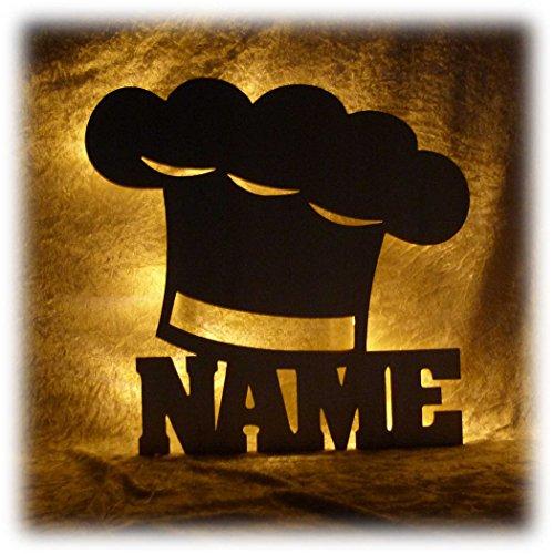 Schlummerlicht24 Kochmütze Deko Lampe mit Name Zubehör für den Koch lustige witzige Geschenke Set für Köche Küche Dekoration Wohnzimmer Restaurant Kantine