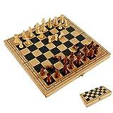 Keyohome Ajedrez de madera, juego de ajedrez portátil y plegable de viaje educativo para niños principiantes adultos