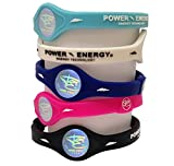 Power Energy Balance Bands, Silicon Sports Wristband, Hologram Bracelet Wrist Band, Infused with Natural Minerals & Negative Ions (Black, Medium 190mm)