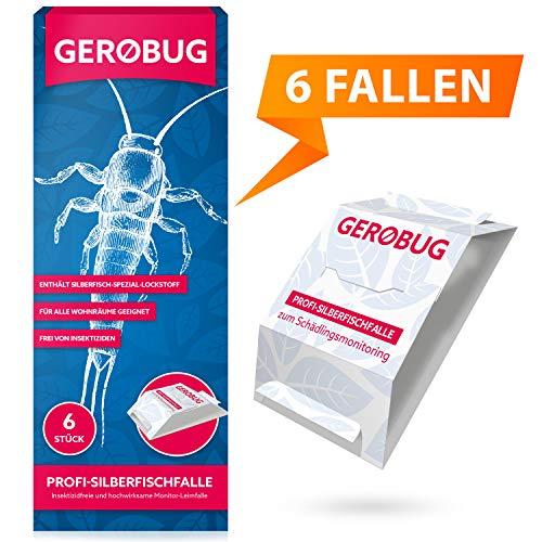 Gerobug Silberfischfalle = 6 Stück zum Silberfische nachweisen + E-Book zum Silberfische bekämpfen + Support vom Experten