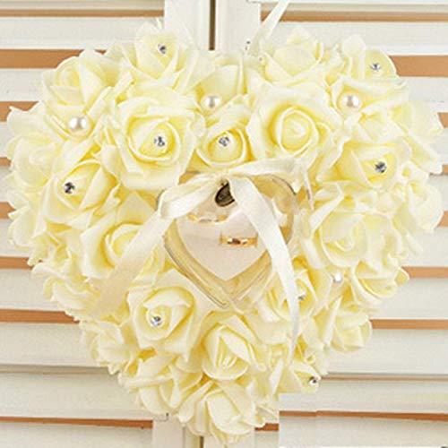 WeishenG Ungewöhnlich Hochzeit Zeremonie Elfenbein Satin Kristall Blume Ring Inhaber Kissen 6 Farben in Fein Stil - Mibai