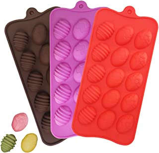 Egg Silicone Chocolate Candy Molds, DanziX 3 Pack Silicone Molds with 15-Cavity for Candy Chocolate Jelly, Ice Cube-Red,Pink, Chocolate