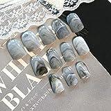 24pcs / set Diseño de mármol gris Lady Acrílico Uñas Consejos de uñas falsas completas Arte de uñas Herramientas de uñas falsas + Duo Side Sticker Z141