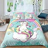 Loussiesd Juego de funda de edredón y funda de almohada de 135 x 200 cm, diseño de unicornio, color rosa y verde