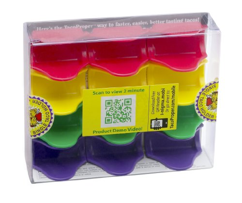TacoProper Proper Fiesta Pak, Set of 12 Taco Holders, 1.75 x 1-Inch, 12-Pack, Multicolored