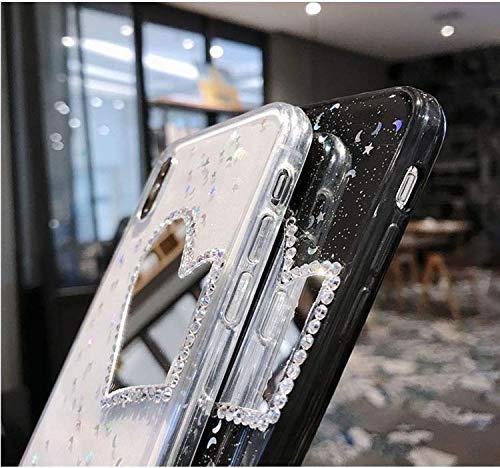 Hnzxy Handyhülle Kompatibel mit Huawei Nova 3 Hülle Spiegel Glänzend Glitzer Kristall Strass Diamant Liebe TPU Silikon Handy Hülle Durchsichtige Schutzhülle Case Tasche Etui für Huawei Nova 3, Schwarz - 5