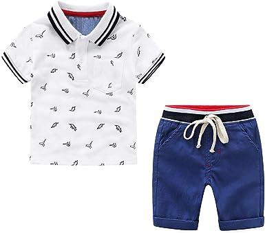 Camiseta de Manga Corta para Niños + Pantalones Cortos Ropa de Niño de 2 Piezas Traje de Dibujos Animados para Niños