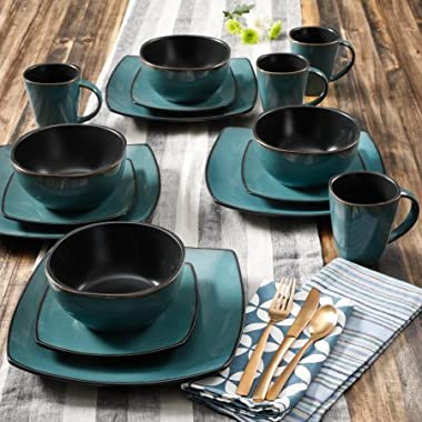 Gibson Elite Soho Lounge Reactive Glaze 16 Piece Dinnerware Set in Teal; Includes 4 Dinner Plates; 4 Dessert Plates, 4 Bowls and 4 Mugs