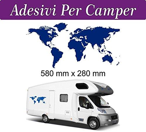 1 Adesivo per Camper - MAPPAMONDO - mondo HOBBY MOBILVETTA ADRIA HYMER ARCA