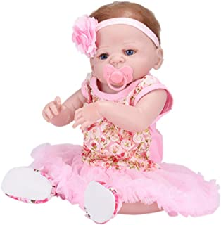 Dirance 22 Inch Lifelike Reborn Toddlers Doll Open Eyes Soft Silicone Vinyl Full Body Realistic Pink Girl Doll Realife Newborn Baby Doll Outfits, Kids Gift for Ages 3+,Under 60 Dollars (E)