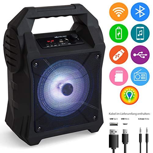 MABAMAHO Soundlogic Bluetooth tragbarer Lautsprecher 35x15x24 cm, 16.5cm Box, FM-Radio, USB Box mit RGB LEDs, für Smartphones, MP3, Micro-USB, Mikrofon, AUX, TF-Card, MicroSD, Akku 1200mAh, BT 4.2+DER