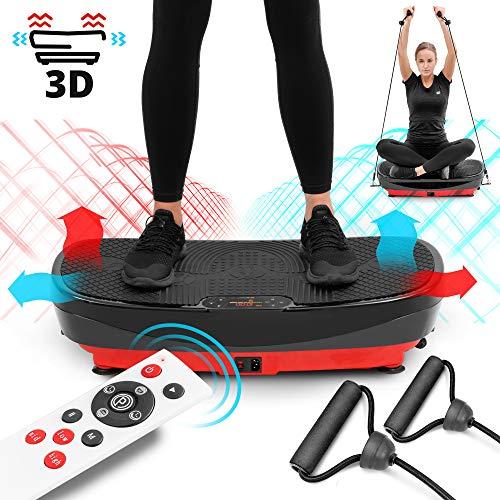 Hop-Sport 3D Vibrationsplatte HS-080VS Trainingsbänder Fernbedienung 99 Intensitätsstufen horizontale Vibrationen + Oszillation + 3D Vibrationen 3 Trainingszonen 8 Trainingsprogramme + 2 DC Motoren