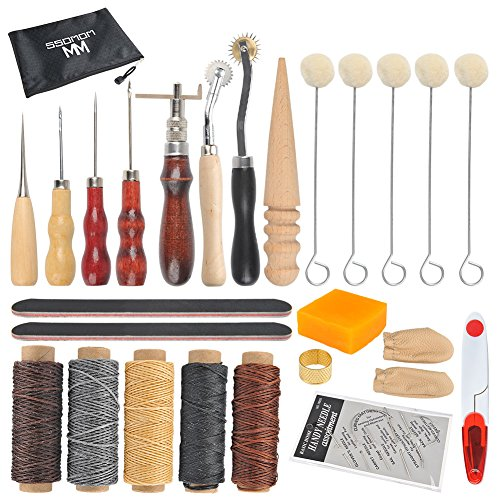CODIRATO 7 Pieces Leather Sewing Needles Metal Leather Craft Tools Kit with Sewing Awl Thimble and Waxed Thread for Upholstery Carpet Leather Furs Canvas Repair