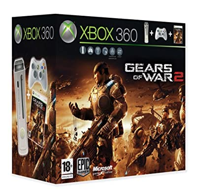 Microsoft Xbox 360 Pro Console Bundle 60GB (White) with Gears of War 1 and Gears of War 2 Games