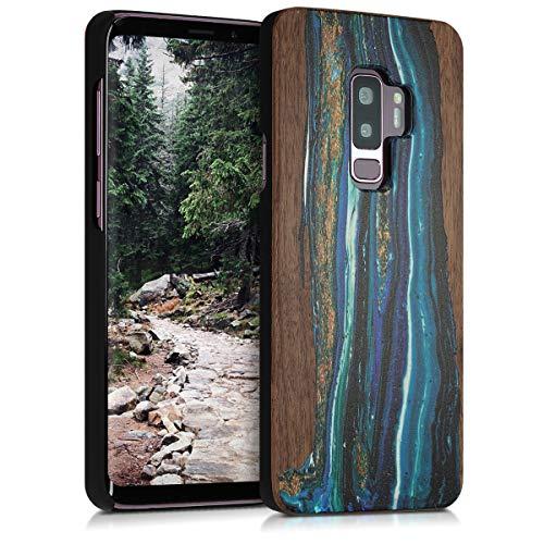 kwmobile Schutzhülle kompatibel mit Samsung Galaxy S9 Plus - Hülle Handy aus Holz - Cover Hülle Handyhülle Holz Farbbrush Blau Braun