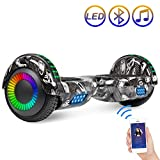 Hoverboard Self Balancing Scooter 6.5' Two-Wheel Self Balancing Hoverboard with Bluetooth Speaker and LED Lights Electric Scooter for Adult Kids Gift UL 2272 Certified Fun Edition - Tire Graffiti