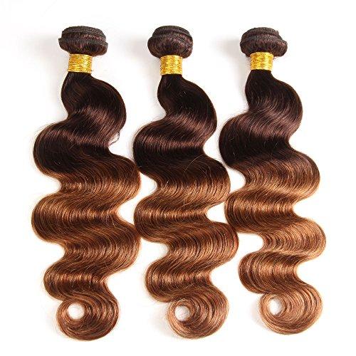 2 Tone Ombre Hair Brazilian Virgin Hair Body wave 3 Bundles Human Hair Weave Hair Extensions T4/30 Medium Brown/Medium Auburn(12 14 16)